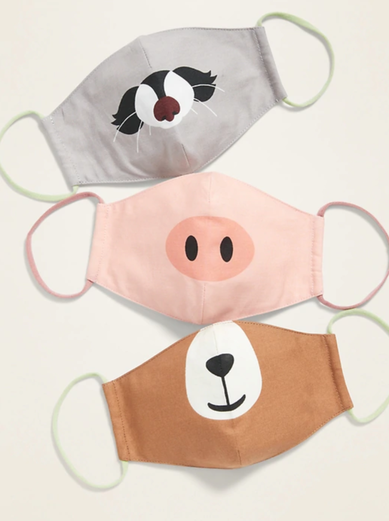 Variety 3-Pack of Triple-Layer Cloth Critter Face Masks (with Laundry Bag) for Kids in Raccoon/Pig/Brown Bear