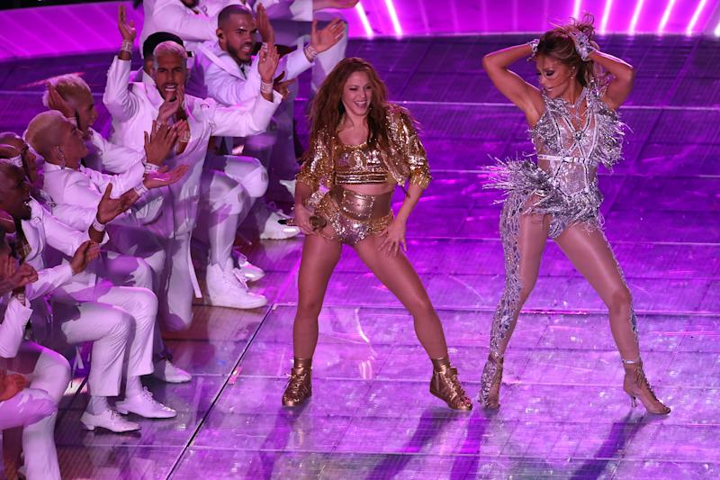 MIAMI, FLORIDA - FEBRUARY 02: Shakira and Jennifer Lopez perform during the Pepsi Super Bowl LIV Halftime Show at Hard Rock Stadium on February 02, 2020 in Miami, Florida. (Photo by Elsa/Getty Images)