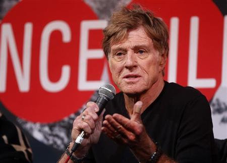Actor Redford addresses the media at an opening day news conference for the Sundance Film Festival at the Egyptian Theatre in Park City