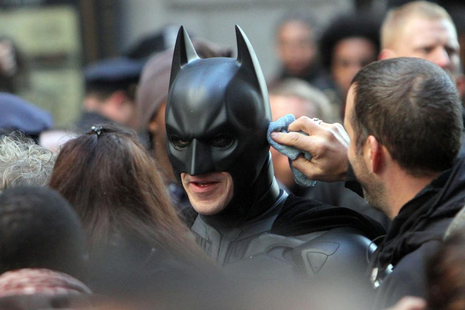 Christian Bale is seen on the set of 'The Dark Knight Rises' filming in New York City.