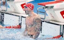 <p>Adam Peaty of Team Great Britain makes waves to celebrate his Men's 100m Breaststroke Final win at Tokyo Aquatics Centre on July 26.</p>
