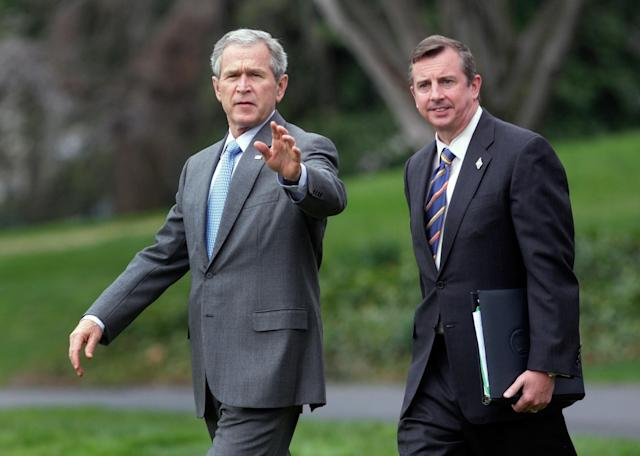 President George W. Bush with Ed Gillespie on the South Lawn of the White House in 2008. (Photo: Ron Edmonds/AP)