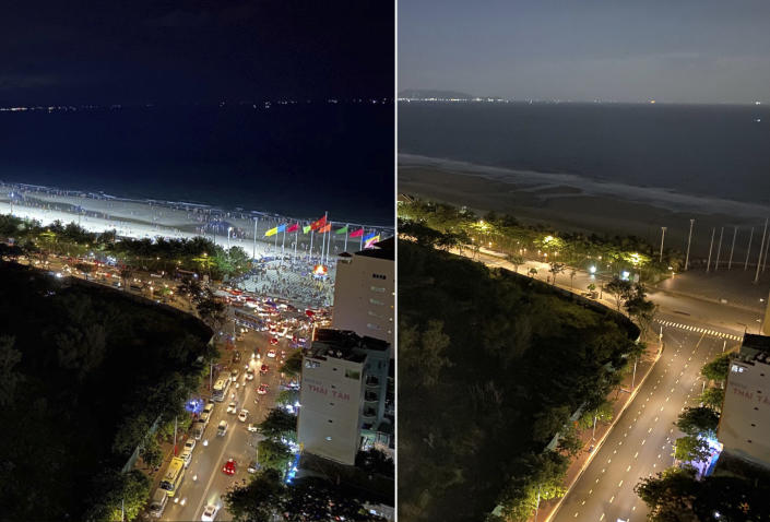 In this photo combination, the left shows busy traffic in Vung Tau, Vietnam on April 30, 2021, and the right shows empty street during a virus lockdown from the same view on Sept. 13, 2021. More than a half of Vietnam is under a lockdown order to contain its worst virus outbreak yet.(AP Photo/Mathieu Le Besq)