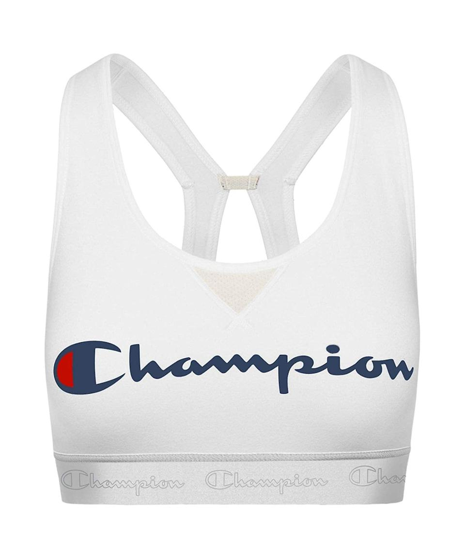 "<h3>Champion The Authentic Sports Bra</h3><br>It's cute, comfy, and we won't even mind if it peeks out from under our breezy workout tanks. We'll take two.<br><br><strong>Champion</strong> The Authentic Sports Bra, $, available at <a href=""https://amzn.to/2Ib3Ki1"" rel=""nofollow noopener"" target=""_blank"" data-ylk=""slk:Amazon"" class=""link rapid-noclick-resp"">Amazon</a>"