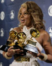"""FILE - Mary J. Blige holds the awards she won for best R&B female vocal performance, best R&B album and best R&B song backstage at the 49th Annual Grammy Awards in Los Angeles on Feb. 11, 2007. Johnta Austin was a song of the year nominee with Blige's """"Be Without You,"""" which spent 15 weeks on top of the R&B charts. (AP Photo/Mark J. Terrill, File)"""