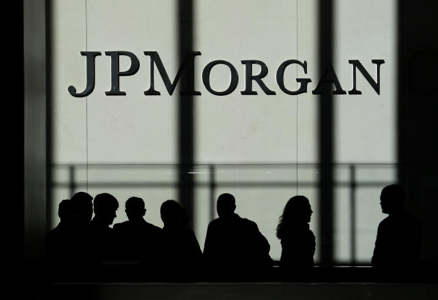 The JPMorgan Chase & Co. logo is displayed at their headquarters in New York.  (AP Photo/Seth Wenig)
