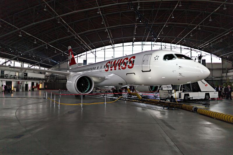 A Bombardier C Series plane. (Bloomberg via Getty Images)