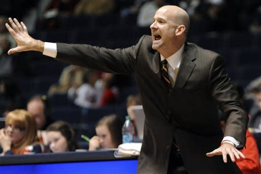 Mississippi head coach Andy Kennedy reacts against Coastal Carolina during their NCAA college basketball game, Tuesday, Nov. 13, 2012, in Oxford, Miss. Mississippi won 90-72. (AP Photo/The Oxford Eagle, Bruce Newman)