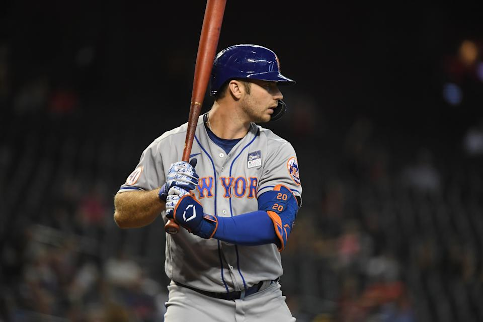 PHOENIX, ARIZONA - JUNE 02: Pete Alonso #20 of the New York Mets gets ready in the batters box against the Arizona Diamondbacks at Chase Field on June 02, 2021 in Phoenix, Arizona. (Photo by Norm Hall/Getty Images)