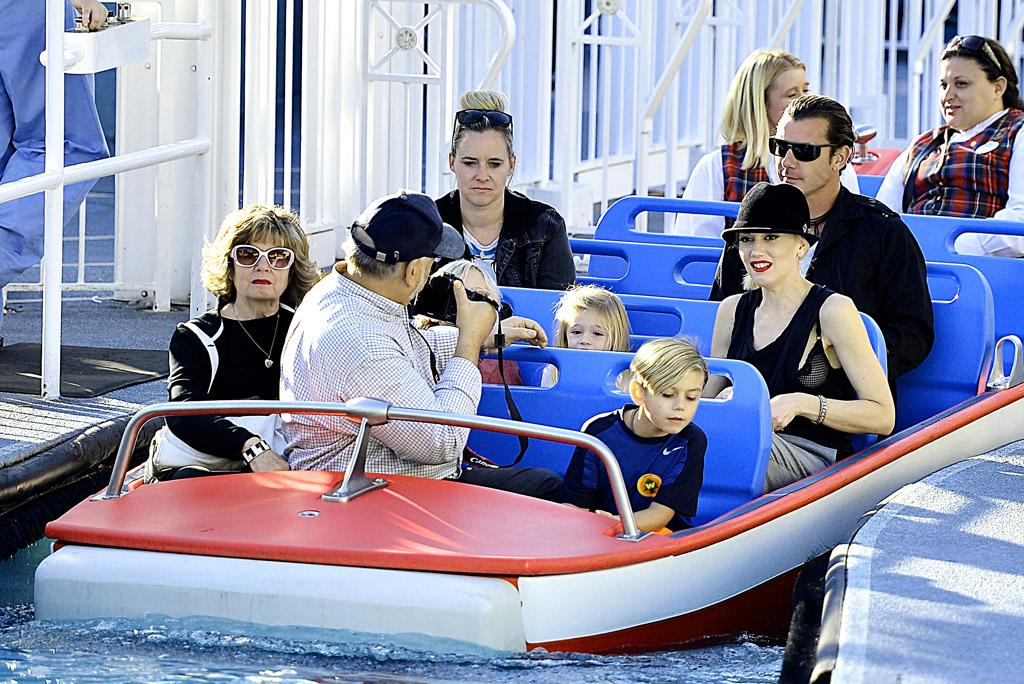 EXCLUSIVE: Gwen Stefani was all smiles while riding the Small World ride at Disneyland with husband Gavin Rossdale, their kids Zuma and Kingston, and her parents Patti and Dennis on Tuesday afternoon. Pictured: Gwen Stefani, Gavin Rossdale, Zuma Rossdale, Kingston Rossdale, Dennis Stefani and Patti Stefani Ref: SPL470985  121212   EXCLUSIVE Picture by: Sharpshooter Images / Splash   Splash News and Pictures Los Angeles:310-821-2666 New York:212-619-2666 London:870-934-2666 photodesk@splashnews.com