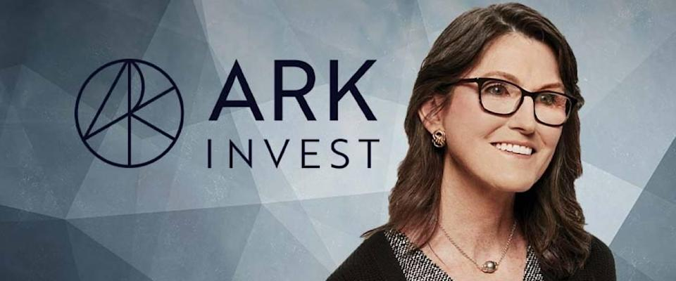 Cathie Wood with ARK Invest logo