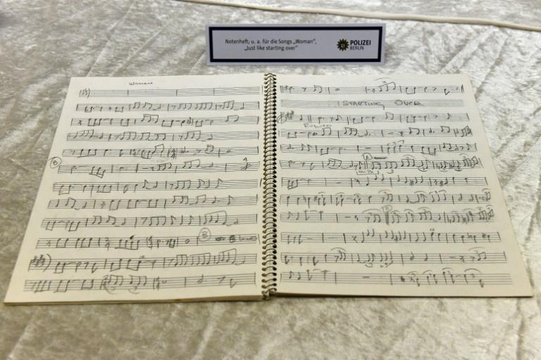 A music book of John Lennon's was recovered by police in Germany