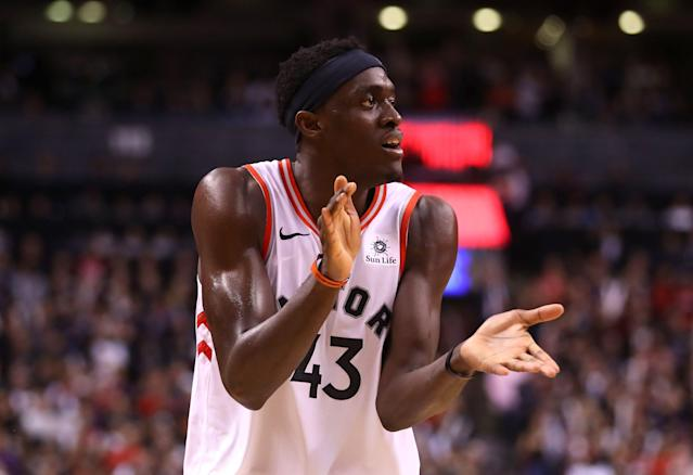 Pascal Siakam scored a team-high 32 points against the Warriors. (Getty Images)