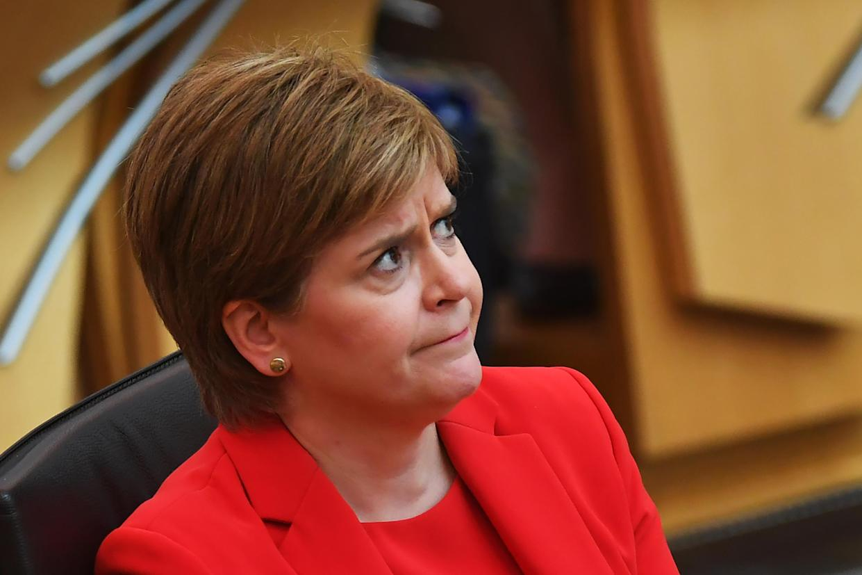 EDINBURGH, SCOTLAND - JUNE 03: Scottish First Minister Nicola Sturgeon attends First Ministers Questions at the Scottish Parliament on June 3, 2021 in Edinburgh, Scotland. (Photo by Andy Buchanan - WPA Pool/Getty Images)