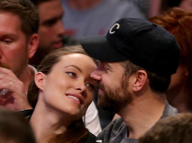 NEW YORK, NY - MAY 10: Olivia Wilde and Jason Sudekis attend Game Three of the Eastern Conference Semifinals during the 2014 NBA Playoffs at the Barclays Center on May 10, 2014 in the Brooklyn borough of New York City. The Brooklyn Nets defeated the Miami Heat 104-90. NOTE TO USER: User expressly acknowledges and agrees that, by downloading and/or using this photograph, user is consenting to the terms and conditions of the Getty Images License Agreement. (Photo by Elsa/Getty Images)