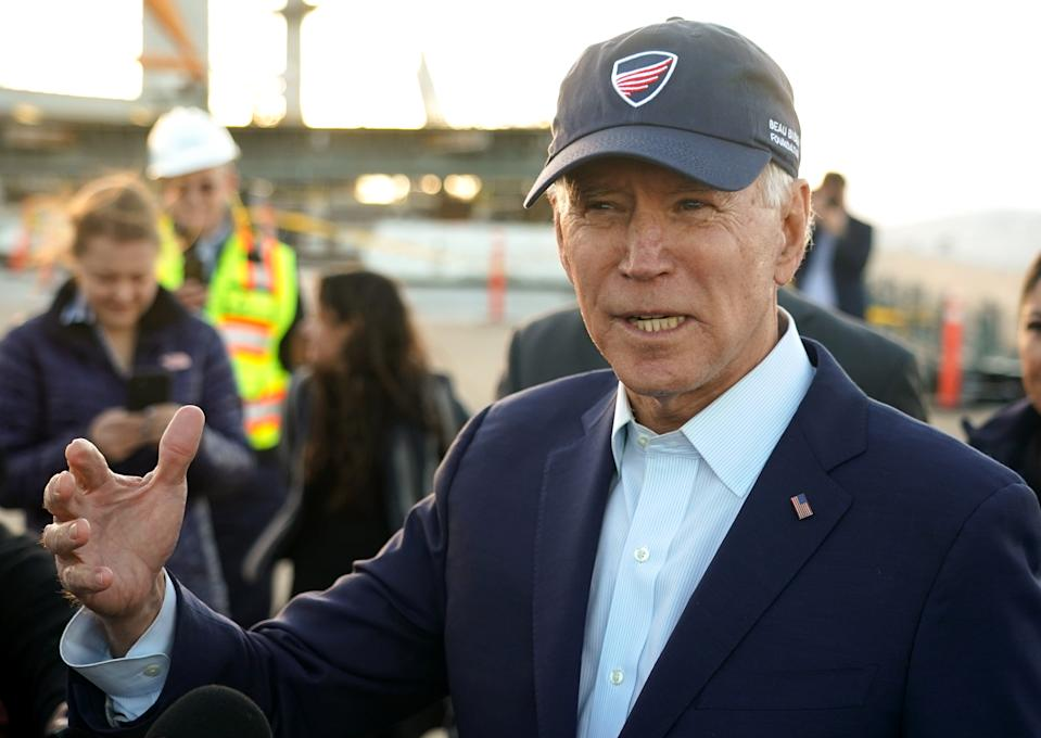 LONG BEACH, CA - JANUARY 09: Former Vice President Joe Biden gives some remarks during a tour of the Gerald Desmond replacement bridge project in Long Beach on Thursday, Jan. 9, 2020. (Photo by Scott Varley/MediaNews Group/Torrance Daily Breeze via Getty Images)