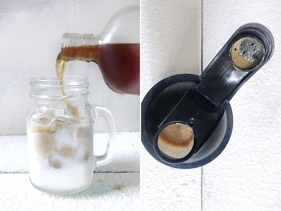 Pour the cold brew coffee over the milk (left). Make a thick instant coffee foam using a shaker (right).