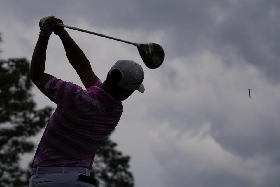 Xander Schauffele tees off on the ninth hole during the third round of the Masters golf tournament on Saturday, April 10, 2021, in Augusta, Ga. (AP Photo/Matt Slocum)