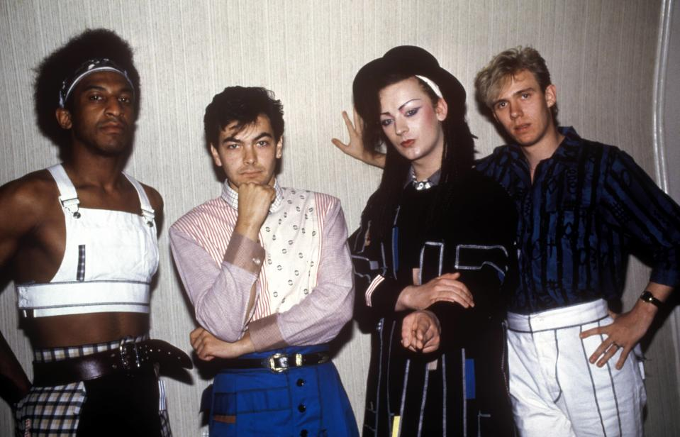 (MANDATORY CREDIT Ebet Roberts/Getty Images) UNITED STATES - JANUARY 01:  Photo of BOY GEORGE and CULTURE CLUB; Mikey Craig, Jon Moss, Boy George, Roy Hay  (Photo by Ebet Roberts/Redferns)