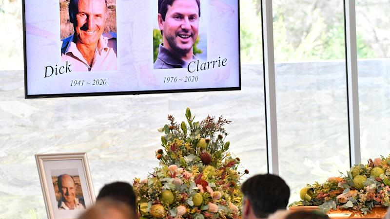 """Dick and Clayton Lang have been remembered """"as larger than life"""" at their Adelaide funeral service"""