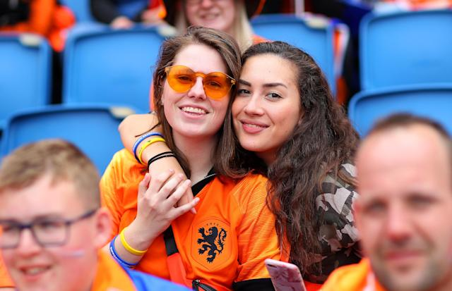 Netherland fans enjoy the pre match atmosphere prior to the 2019 FIFA Women's World Cup France group E match between New Zealand and Netherlands at on June 11, 2019 in Le Havre, France. (Photo by Maddie Meyer - FIFA/FIFA via Getty Images)
