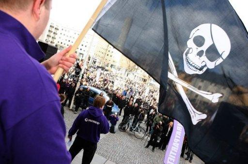 Supporters of the web site 'The Pirate Bay', one of the world's top illegal filesharing websites