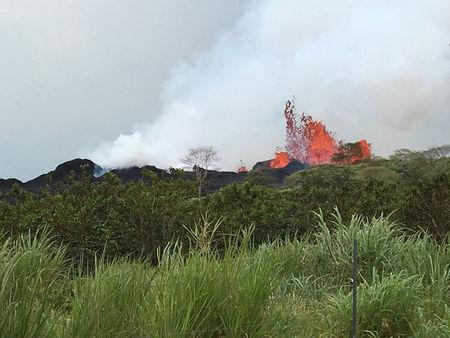 Lava fountain is visible at Fissure 22, which geologists report the lava fountain as high as about 50 m (164 ft) during ongoing eruptions of the Kilauea Volcano in Hawaii, U.S. May 21, 2018.   Picture taken on May 21, 2018.   USGS/Handout via REUTERS