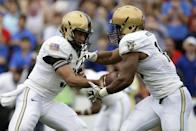 Army quarterback Angel Santiago (3) hands off the ball to running back Trenton Turrentine, right, in the first half of an NCAA college football game against Louisiana Tech, Saturday, Sept. 28, 2013, in Dallas. (AP Photo/Tony Gutierrez)