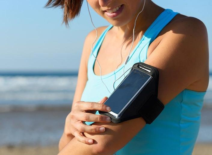 Woman listening to music on a run