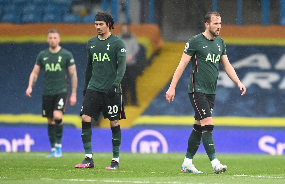 Tottenham Hotspur's Harry Kane (right) and  Dele Alli looks dejected in their EPL match against Leeds United.