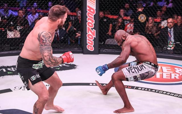 """It took just 15 seconds for Ryan Bader to finish 'King' Mo Lawal and progress to the semi-final of the Bellator Heavyweight Grand Prix here at the SAP Center. Big moment, big statement from Bader, whose first punch of the fight, a left hook, sent Lawal staggering backwards and onto his rump, with his nemesis in fast pursuit. A ground and pound flurry later, and it was all over. Bader, with this statement TKO, arguably becomes the insider's favourite to claim the tournament, though he faces Matt Mitrione in the semi-finals, with Chael Sonnen lining up against Fedor Emelianenko, both fights expected to be in the last quarter of this year. The venues and dates are not yet finalised. But Bader looks, genuinely, to be in the prime of his career, and had carried that mood all week in San Jose. Asked by Telegraph Sport afterwards if he would find it difficult to drop back down to the light heavyweight division to defend the belt he also holds, if he triumphs in the tournament, he was hedging his bets: """"It may be difficult to go back down, as there's some great fights at heavyweight, but we'll have to see."""" Ryan Bader now many fans' favourite to win Bellator HGP Credit: Lucas Noonan/Bellator You get what it says on the tin with Bader. Big, solid physicality. Allied, right now, with a confidence higher than he has ever had. It probably is 'his time' right now. The beauty of this outcome and finish for Bader, he explained, was that without taking a blow to his body given the speed of the finish, he could simply get into camp """"and compound what had been so good in this camp."""" As the last of the four quarter finals, it meant Bader may had the fastest turnaround, yet this result puts him in the box seat. Indeed, there were three knockouts on the main card, another one of those a statement from a veteran heavyweight who needed it. Cheick Kongo flattened Javy Ayala 149 seconds into the opening round of their heavyweight bout in the second fight on the main card, to bring himself i"""