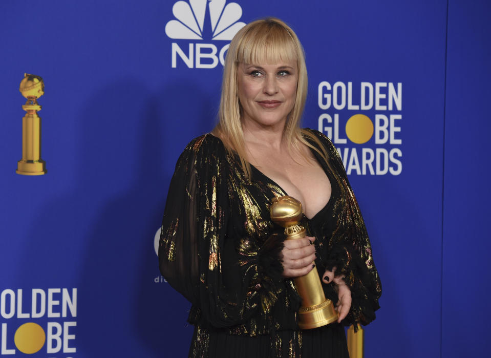 "Patricia Arquette poses in the press room with the award for best performance by an actress in a supporting role in a series, limited series or motion picture made for television for ""The Act"" at the 77th annual Golden Globe Awards at the Beverly Hilton Hotel on Sunday, Jan. 5, 2020, in Beverly Hills, Calif. (AP Photo/Chris Pizzello)"