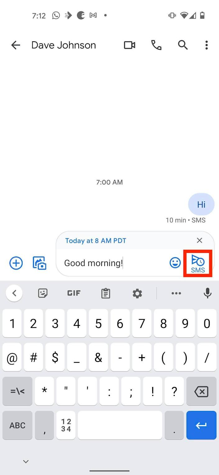 How to schedule texts on Android 2