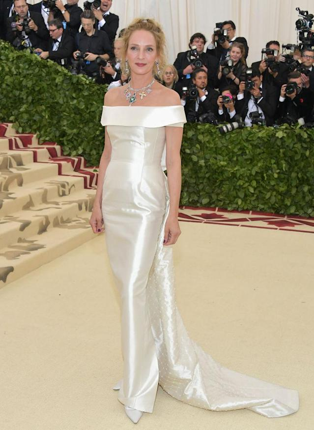 <p>Uma Thurman looks regal in Gabriela Hearst. (Photo: Getty Images) </p>