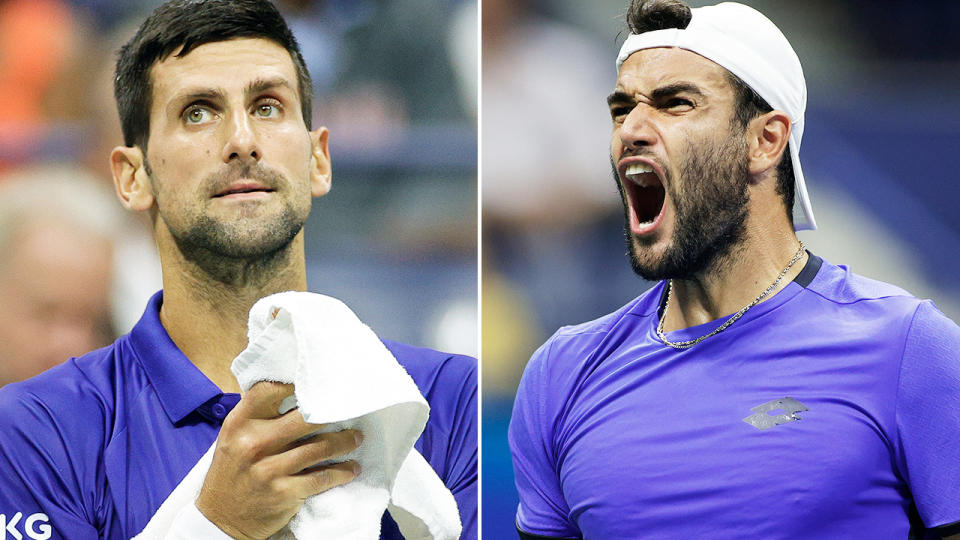 Novak Djokovic and Matteo Berrettini, pictured here in action at the US Open.