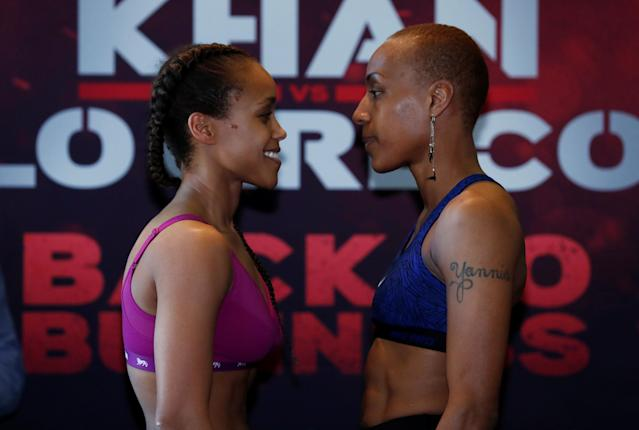 Boxing - Natasha Jonas & Taoussy L'Hadji Weigh-In - Hilton Hotel, Liverpool, Britain - April 20, 2018 Natasha Jonas and Taoussy L'Hadji go head to head during the weigh in Action Images via Reuters/Andrew Couldridge