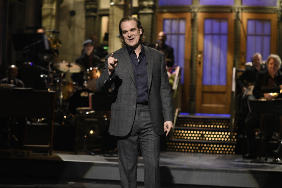 """SATURDAY NIGHT LIVE -- """"David Harbour"""" Episode 1770 -- Pictured: Host David Harbour during the monologue on Saturday, October 12, 2019 -- (Photo by: Will Heath/NBC)"""