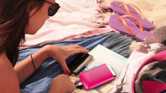 The JAQ fuel cell charger would allow you to charge your smartphone without an electrical outlet, say at the beach.