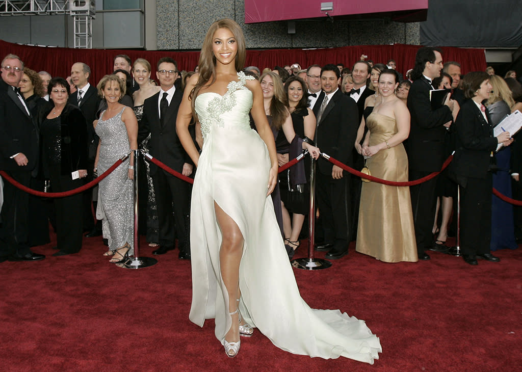 """<p>Although not nominated herself, Queen Bey was on hand to perform two songs from her contending film, """"Dreamgirls."""" (Photo: Kevork Djansezian/AP) </p>"""