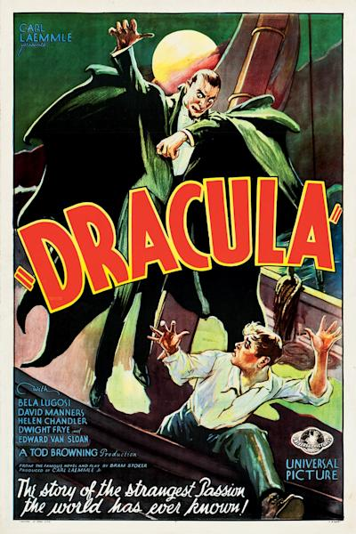 """This February 2012 photo provided by Heritage Auctions in Dallas shows a movie poster for the 1931 poster for """"Dracula"""" starring Bela Lugosi. This and other rare classic movie theater posters found in a northeastern Pennsylvania attic are scheduled to go to auction March 23. (AP Photo/Heritage Auctions)"""