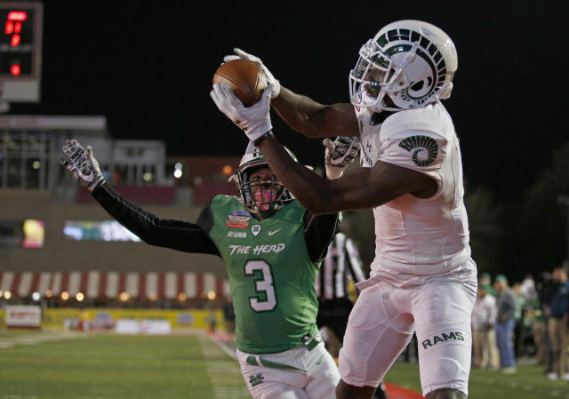 Michael Gallup has good enough hands to be the first wideout taken in the 2018 NFL draft. (AP)