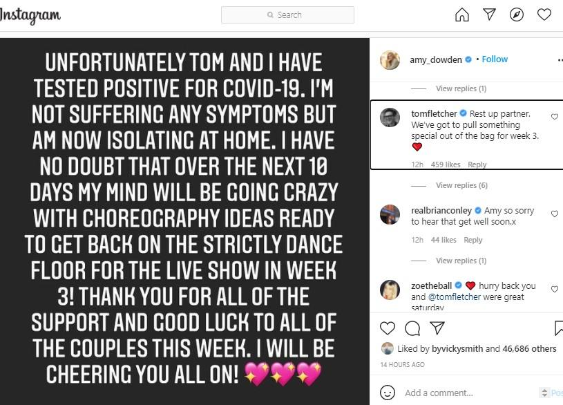 Tom Fletcher told Amy Dowden they would need to pull something special in Week 3. (Instagram)