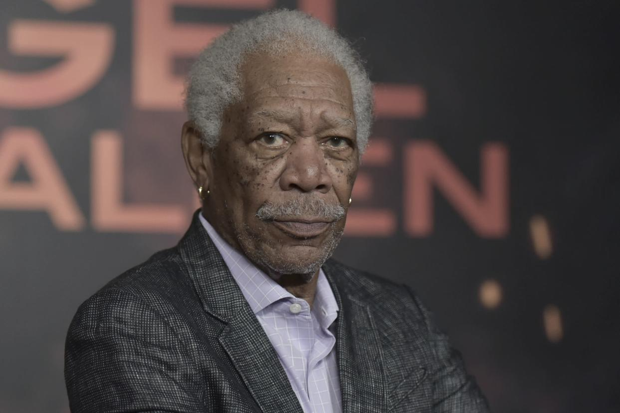 """Morgan Freeman attends a photo call for """"Angel Has Fallen"""" at the Four Seasons Hotel on Friday, Aug. 16, 2019, in Los Angeles."""