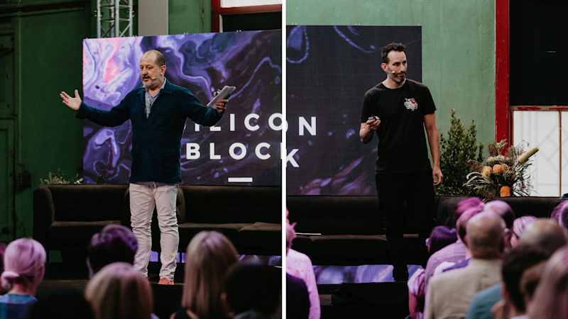 Australian advertising giants and media personalities Russel Howcroft (left) and Alex Wadelton (right) speak at the invite-only Silicon Block conference in Melbourne on Thursday 21 November, 2019. (Source: Supplied)