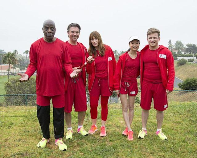 Jimmie Walker, Jeremy Miller, Mackenzie Phillips, Krista Marie Yu, and Jonathan Lipnicki on ABC's 'Battle of the Network Stars' (Photo Credit: ABC)