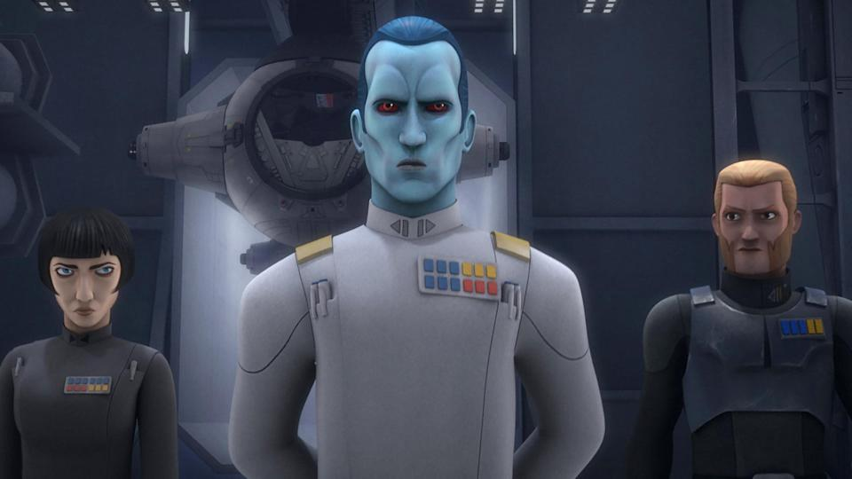 <em>Star Wars</em> villain Grand Admiral Thrawn, seen here in the animated series <em>Star Wars</em> <em>Rebels</em>, made his first appearance in Timothy Zahn's <em>Thrawn</em> trilogy. (Photo: Disney XD/Courtesy Everett Collection)