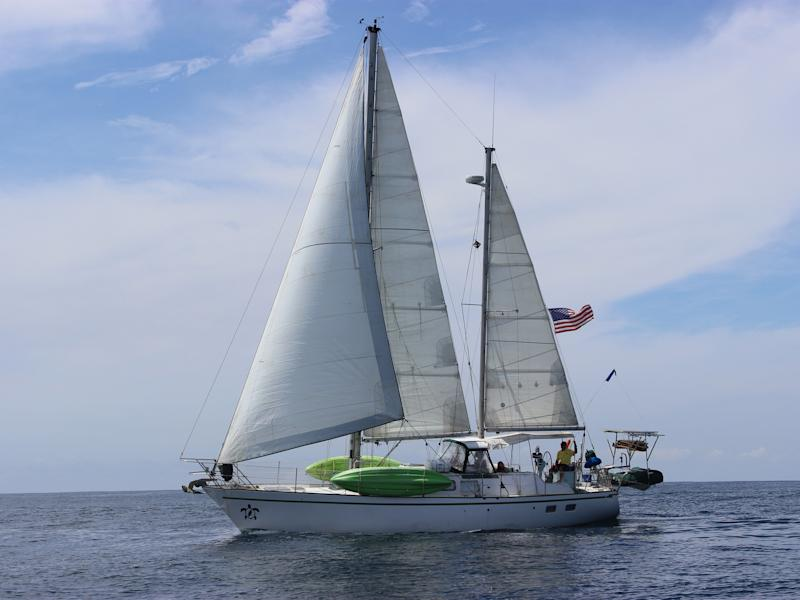 Their boat is a 1978 45-foot Dufour ketch sailboat called SV Terrapin (SV stands for sailing vessel, and a terrapin is a species of turtle). (Aimee Nance)