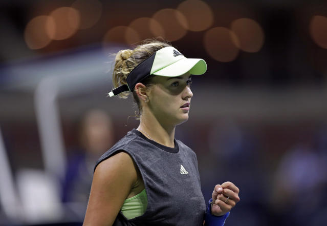 Anna Kalinskaya, of Russia, reacts to winning a point against Sloane Stephens, of the United States, during the first round of the U.S. Open tennis tournament Tuesday, Aug. 27, 2019, in New York. (AP Photo/Adam Hunger)
