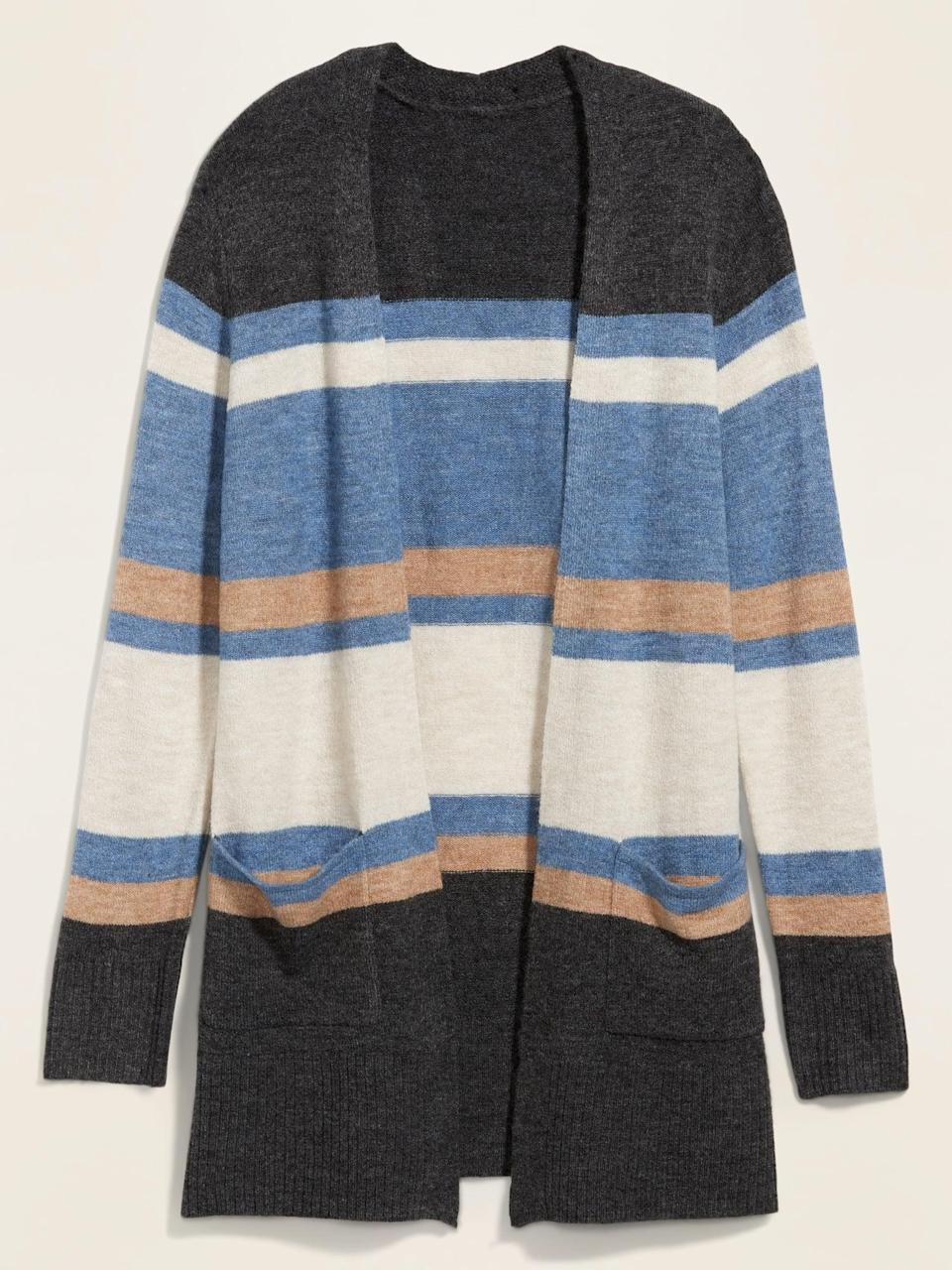 <p>This <span>Cozy Long-Line Open-Front Sweater </span> ($35, originally $40) is incredibly soft and great to wear as a layering piece.</p>