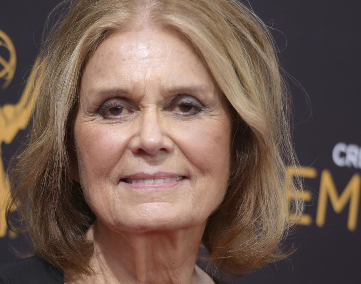 FILE - In this Sept. 11, 2016 file photo, Gloria Steinem arrives at night two of the Creative Arts Emmy Awards at the Microsoft Theater in Los Angeles. Steinem is weighing in to try to save the last abortion clinic in her Ohio hometown. The 83-year-old feminist icon issued a statement Monday, Feb. 12, 2018 urging a private Toledo hospital to sign the patient-transfer agreement with Capital Care of Toledo that the clinic needs to remain open. (Photo by Richard Shotwell/Invision/AP, File)